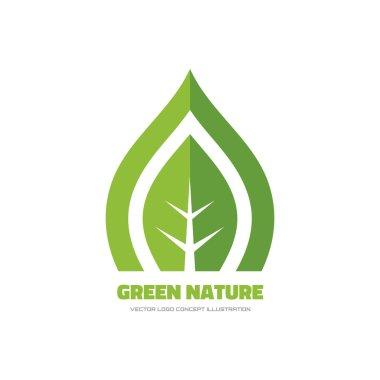 Green nature - vector logo concept illustration. Green leaf logo. Nature logo. Ecology logo. Vector logo template. Design element.