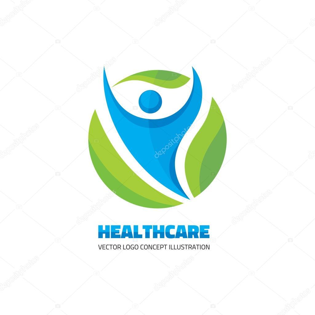 healthcare vector logo concept abstract man illustration human