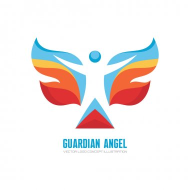 Guardian angel - vector logo concept illustration. Human character with colored wings. Butterfly logo. Christmas sign. Vector logo template.
