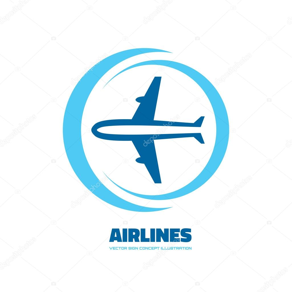 Airlines - vector logo concept. Aircraft illustration ...