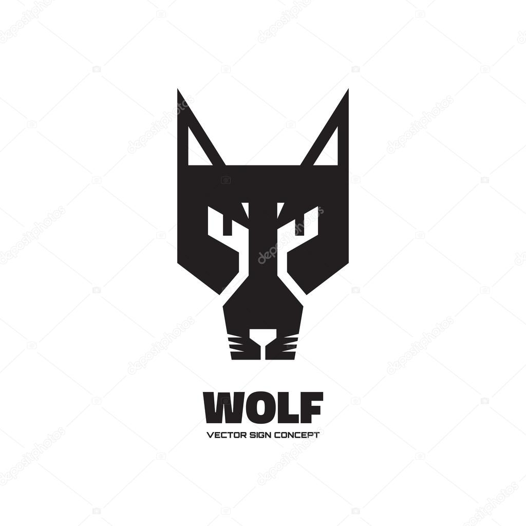 wolf head vector logo concept illustration dog logo illustration