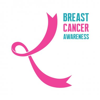 19 October - International Day of Breast Cancer - creative vector sign. Silhouette of a woman's breasts. Breast cancer awareness. Hope for a cure. I am supporting. Pink ribbon sign.