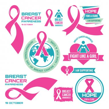 19 October - International Day of Breast Cancer - creative vector badges set. Breast cancer awareness. Hope for a cure. I am supporting. Pink ribbon sign. Vector badges collection. Design elements.