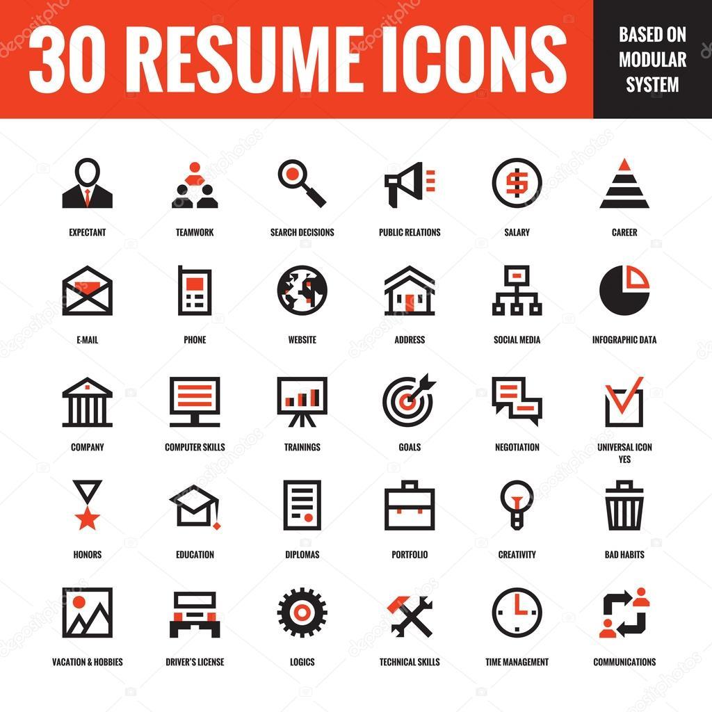 30 Lebenslauf Kreative Vektor Icons Die Auf Der Grundlage Von
