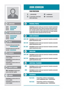Resume - CV - vector concept layout in A4 format. Business resume - vector template. Modern resume template.