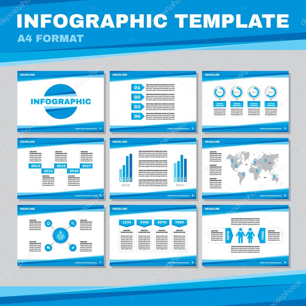 infographic template in a4 format in blue color infographic vector