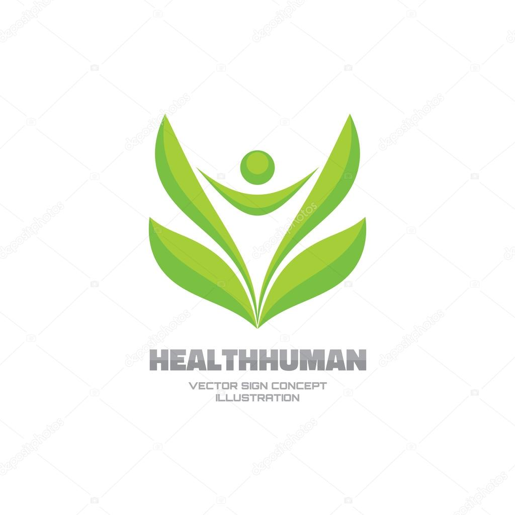 Health human - vector logo concept illustration. Leafs sign. Leafs logo. Health sign. Healthy logo. Nature logo. ecology symbol. Eco logo. Human character abstract illustration. Vector logo template.