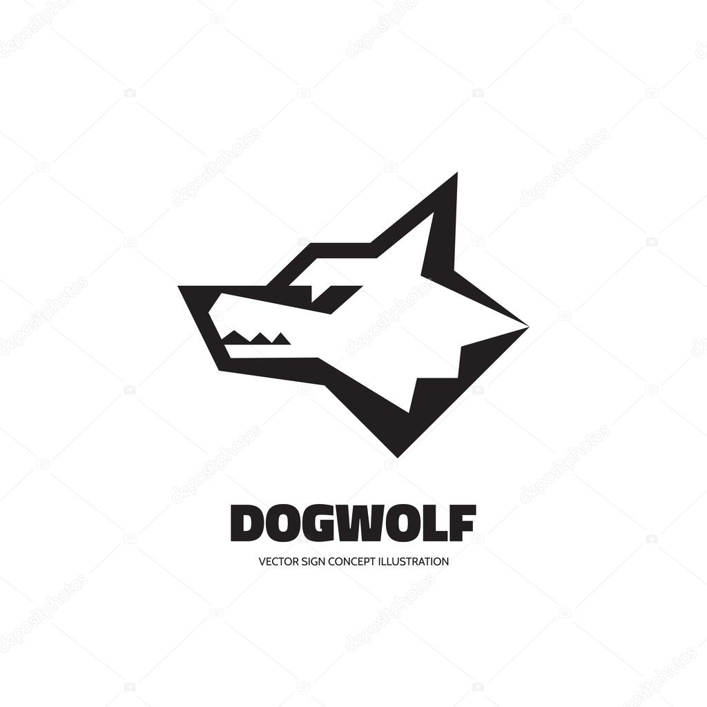 wolf head vector logo concept illustration dog head