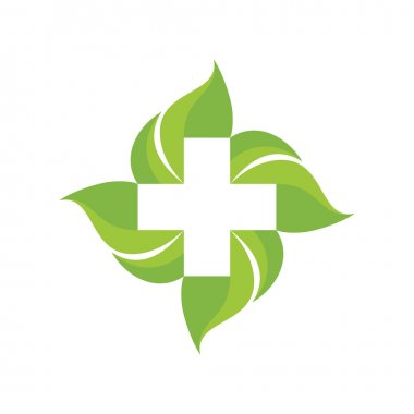 Medical cross and green leafs - vector logo concept illustration. Medicine logo. Health logo. Healthy logo. Healthcare logo. Nature logo. Vector logo template. Design elements.