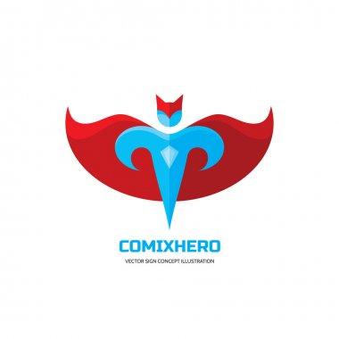 Comix hero - vector logo concept in flat style design. People character. Hero logo. Super logo. Flying man. Human logo. Human icon. Human character illustration. Design element.