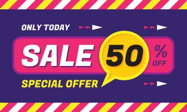 Concept vector banner - special offer - only today 50% off sale eveything. Sale vector banner. Sale abstract background. Super big sale creative layout. Sale horizontal geometric banner template.