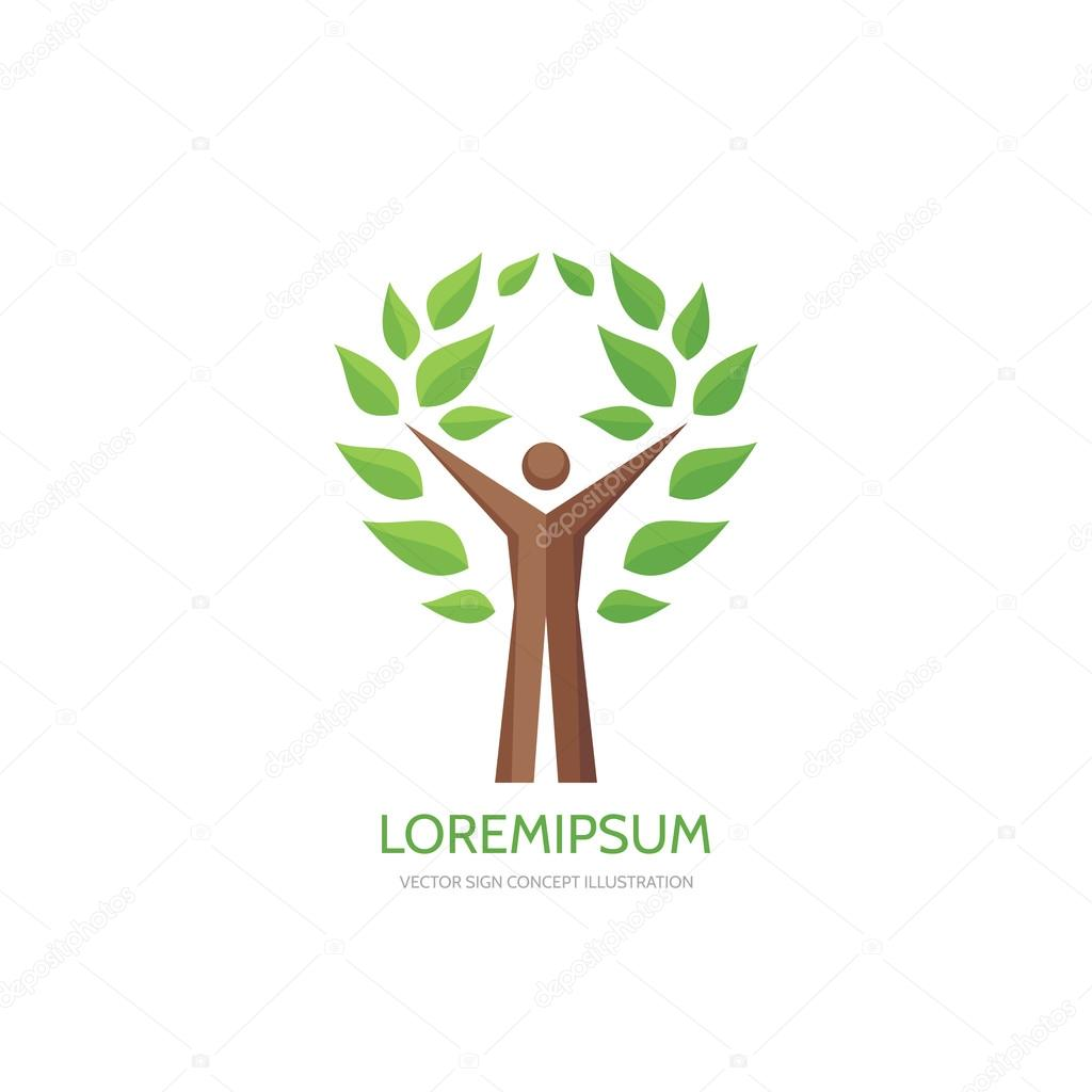 Human tree - vector logo concept illustration. Ecology logo sign. Nature logo sign. Eco logo sign. Human character logo. People logo. Vector logo template. Design element.