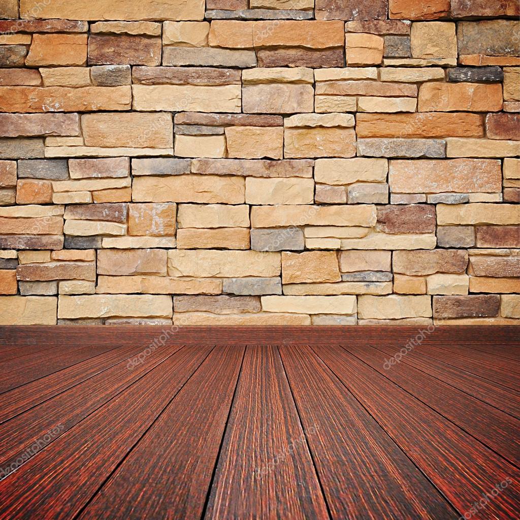 나무 바닥 돌 벽-빈 방 배경 — 스톡 사진 © kritchanut #63350963