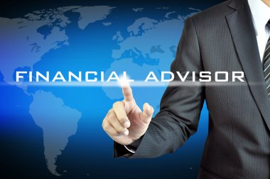 Hand pointing to FINANCIAL ADVISOR sign