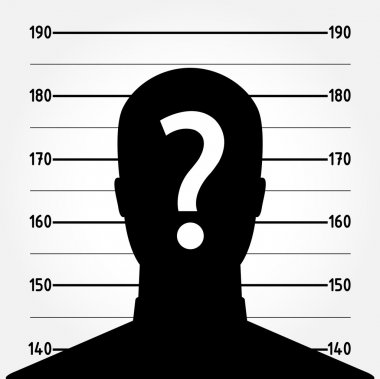 Mugshot of anonymous male silhouette