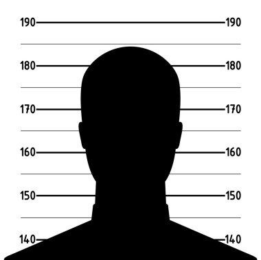 Mugshot of anonymous man silhouette