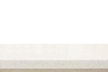 Quartz stone countertop on white background