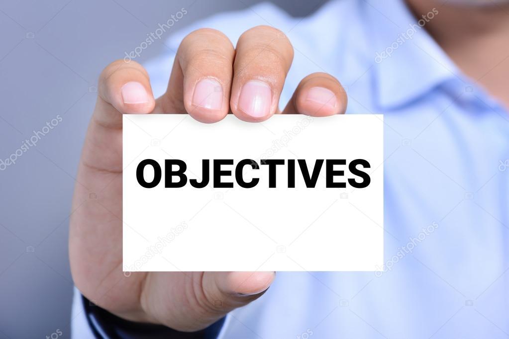 Objectifs Mot Sur La Carte De Visite Illustre Par Un Homme Images Stock Libres Droits
