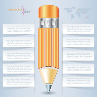 Creative vector pencil for infographic template can be used for