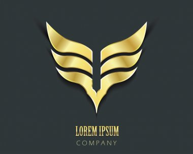 Golden wings vector graphic symbol