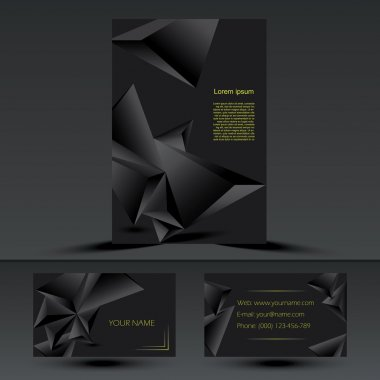 Abstract black corporate brochure  template or cover design with
