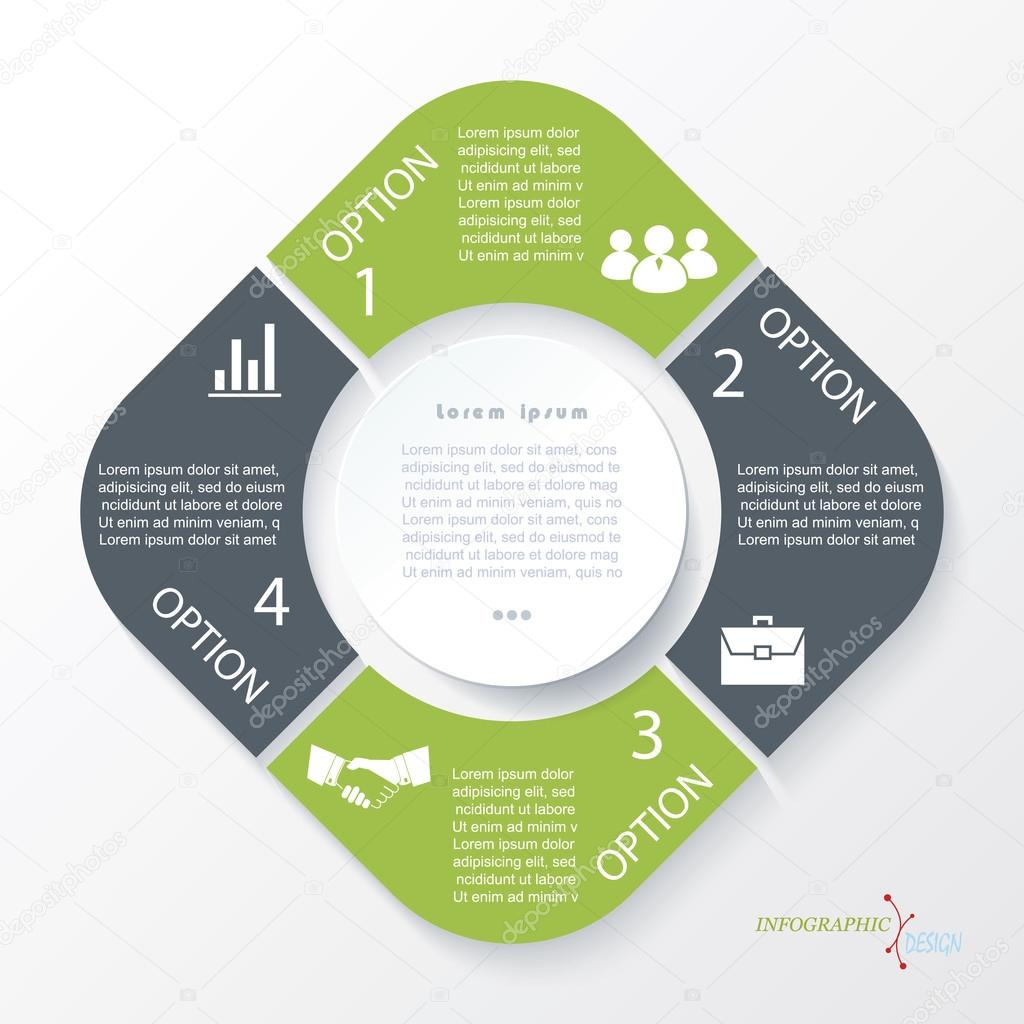 Business concept design with 4 segments. Infographic template ca