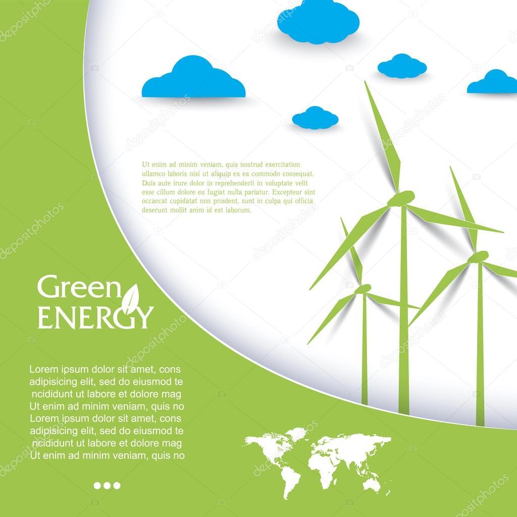 Vector brochure design with wind turbines, green energy concept.
