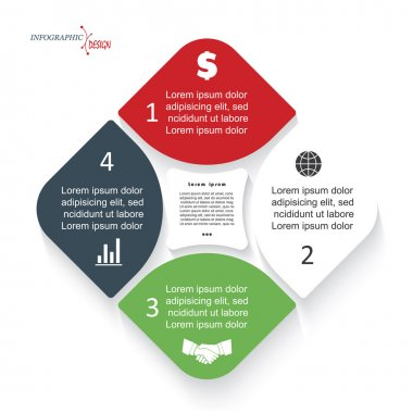 Infographic template for business project or presentation with 4 segments