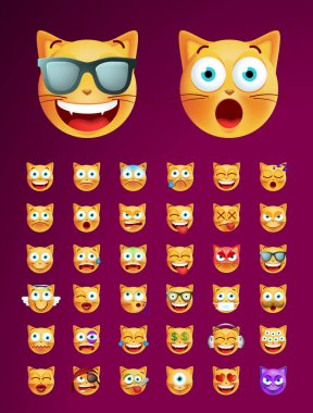 Set of High Quality Cute Emoticon Cat on Solid Background for your Design . Isolated Vector Illustration icon
