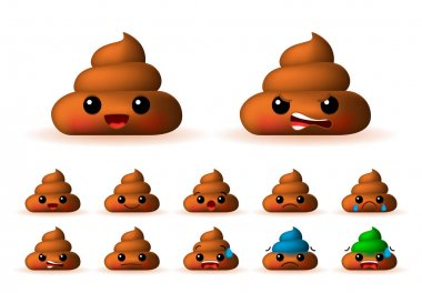 Set of High Quality Cute Poo Emoticons on Background . Isolated Vector Illustration icon