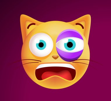 Cute High Quality Cat Emoticon on Background . Isolated Vector Illustration icon