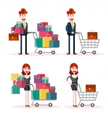 Set of Flat Businessman and Businesswoman Shopping on White Background. Isolated Flat Vector Illustration icon