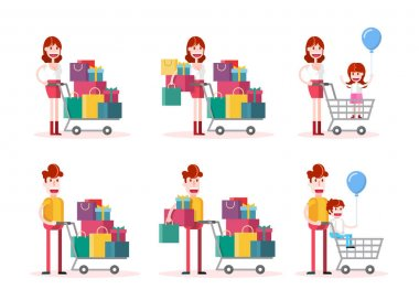 Family Shopping on White Background. Isolated Flat Vector Illustration icon