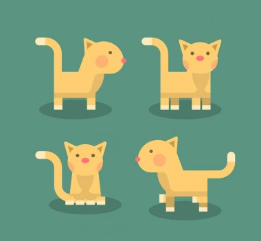 Cat Positions. Isolated Flat Vector Illustration icon