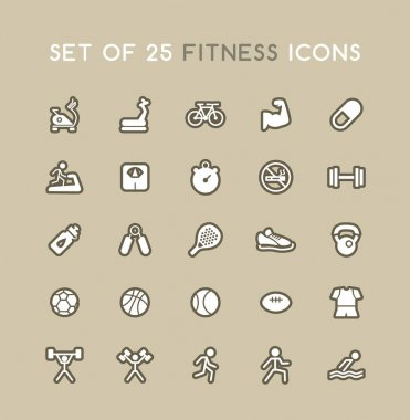 Set of Solid Fitness Icons. Isolated Vector Elements icon