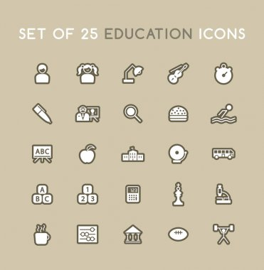 Set of Solid Education Icons. Isolated Vector Elements icon