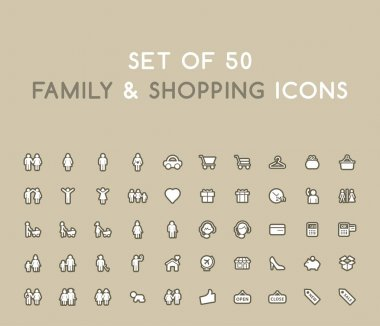 Set of 50 Solid Family and Shopping Icons. Isolated Vector Elements icon