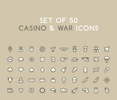 Set of 50 Solid Casino and War Icons. Isolated Vector Elements icon