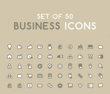 Set of 50 Solid Business Icons. Isolated Vector Elements icon
