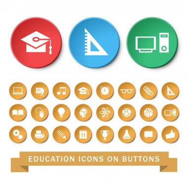 Set of 24 Universal Education Icons on Circular Buttons on White Background. Isolated Elements. icon