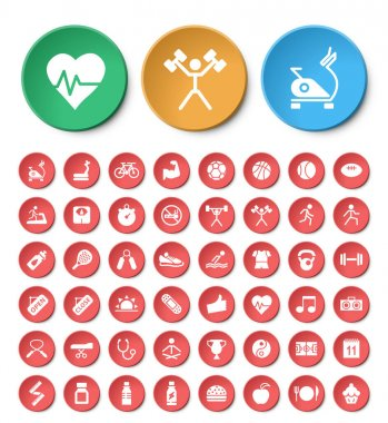 Set of 24 Universal Fitness Icons on Circular Buttons on White Background. Isolated Elements. icon
