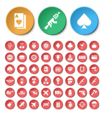 Set of 48 Universal Casino and War Icons on Colored Buttons. Isolated Elements icon