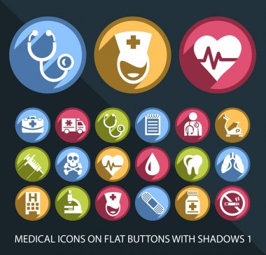 Set of Universal and Standard White Fitness Icons on Flat Circular Colored Buttons with Shadows 1 on Black Background (isolated elements) icon