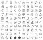 Set of 100 Isolated Minimal Modern Simple Elegant White Stroke Icons ( Casino , Home Appliances , Weather , SEO and Development )