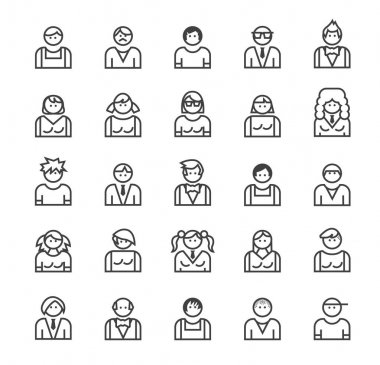 Set of Quality Universal Standard Minimal Simple People Black Thin Line Icons Buttons on White Background. icon