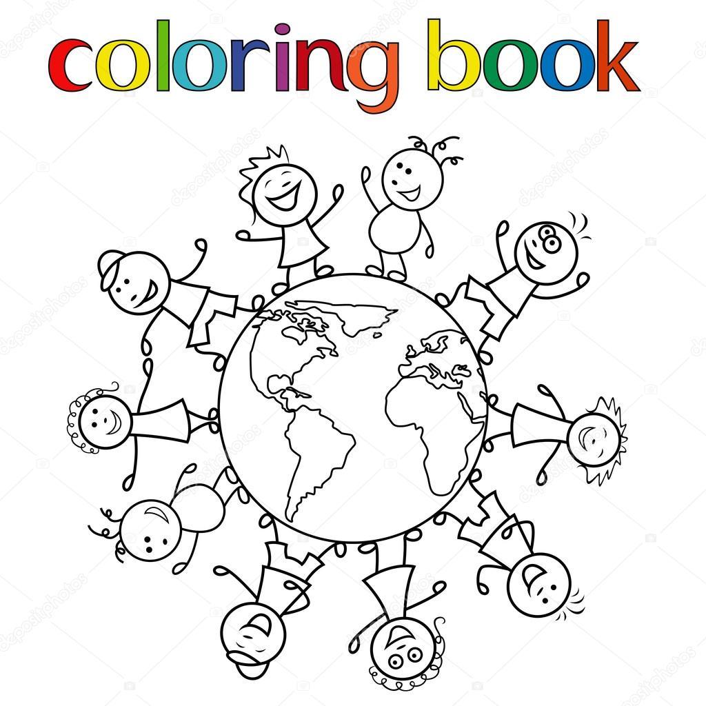Enfants Dans Le Monde Entier Pour Coloriages Image