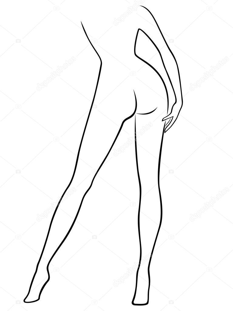 Cuerpo de la mujer elegante, vista desde la parte posterior ...