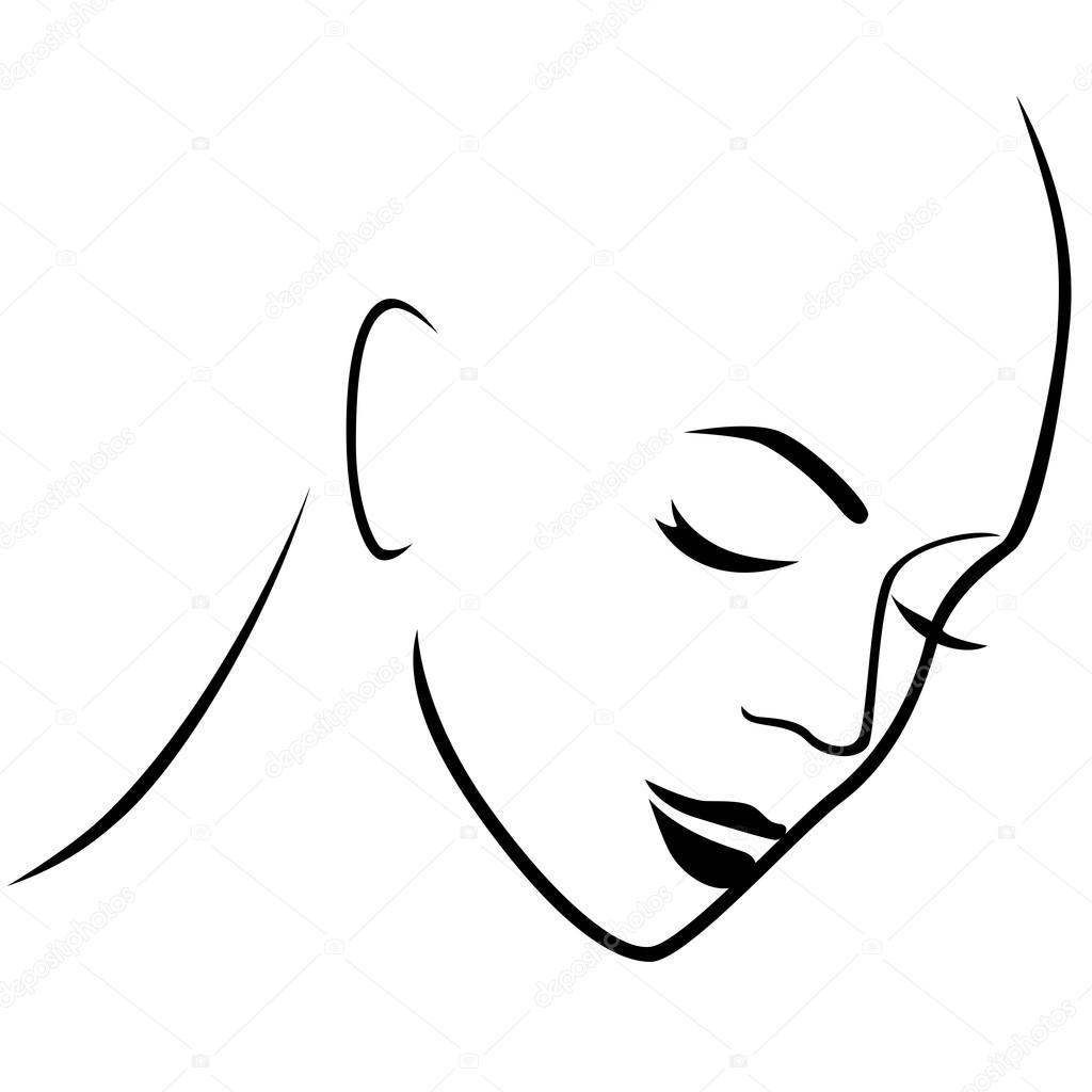 Dibujos Pelo De Mujer Dibujo Resumen Triste Cabeza Sin Pelo Mujer