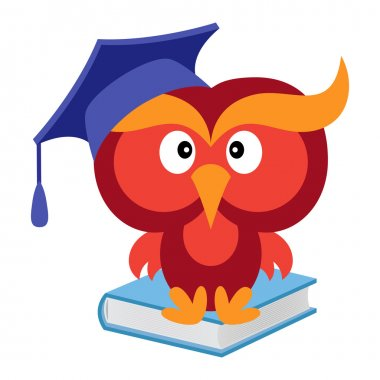 Big funny wise owl sitting on the blue book