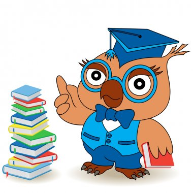 Serious Teacher Owl in glasses and in mortarboard